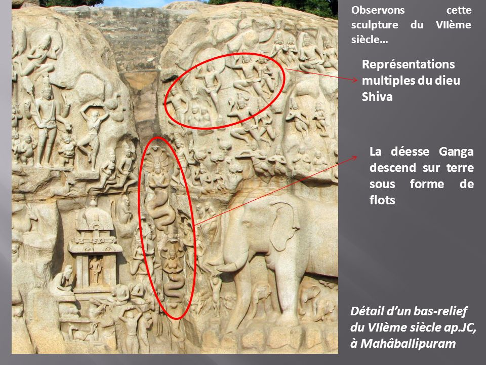 La déesse Ganga descend sur terre sous forme de flots Représentations multiples du dieu Shiva Détail dun bas-relief du VIIème siècle ap.JC, à Mahâball