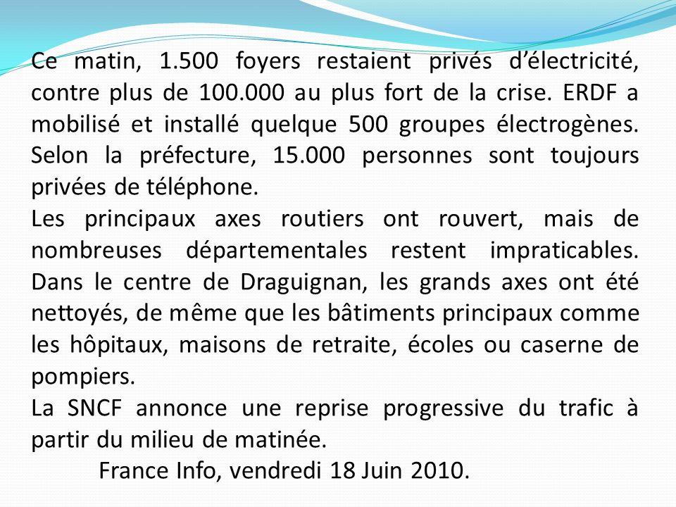 Ce matin, 1.500 foyers restaient privés délectricité, contre plus de 100.000 au plus fort de la crise. ERDF a mobilisé et installé quelque 500 groupes