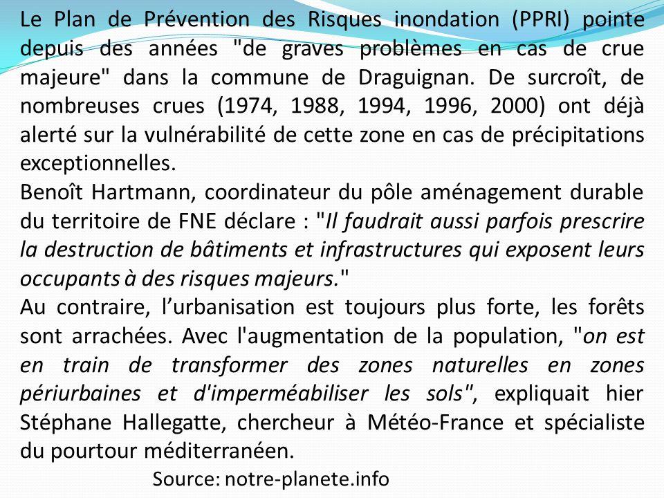 Le Plan de Prévention des Risques inondation (PPRI) pointe depuis des années