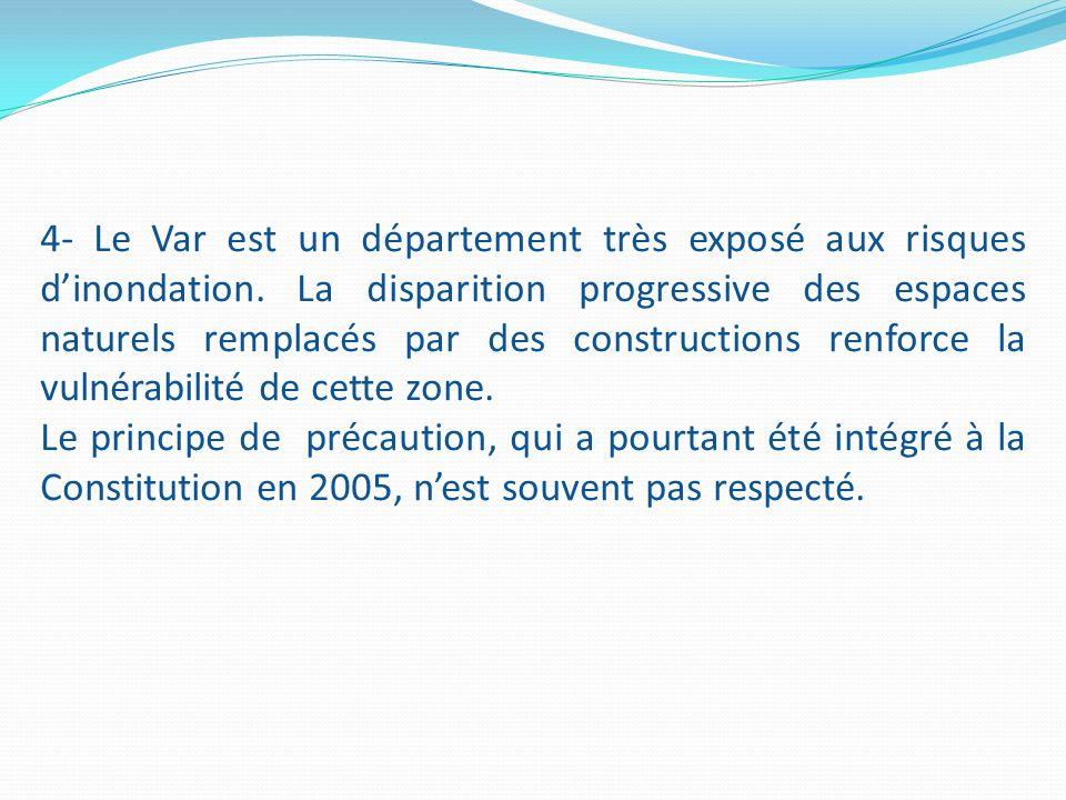 4- Le Var est un département très exposé aux risques dinondation. La disparition progressive des espaces naturels remplacés par des constructions renf