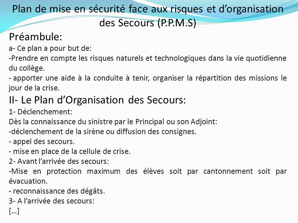 Plan de mise en sécurité face aux risques et dorganisation des Secours (P.P.M.S) Préambule: a- Ce plan a pour but de: -Prendre en compte les risques n