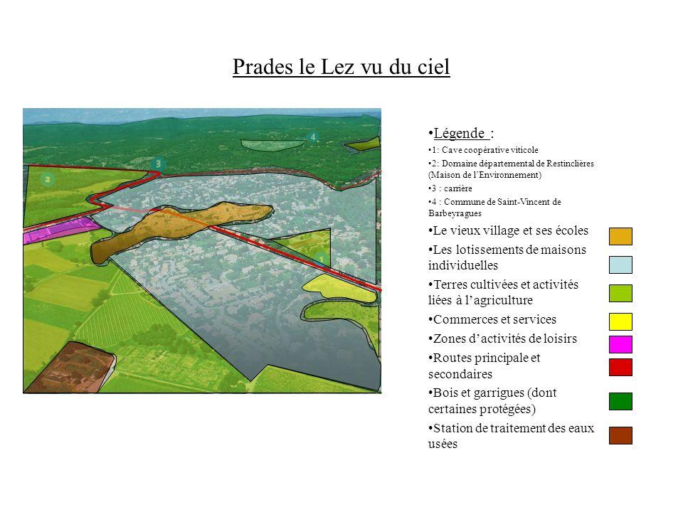 Prades le Lez vu du ciel Légende : 1: Cave coopérative viticole 2: Domaine départemental de Restinclières (Maison de lEnvironnement) 3 : carrière 4 :