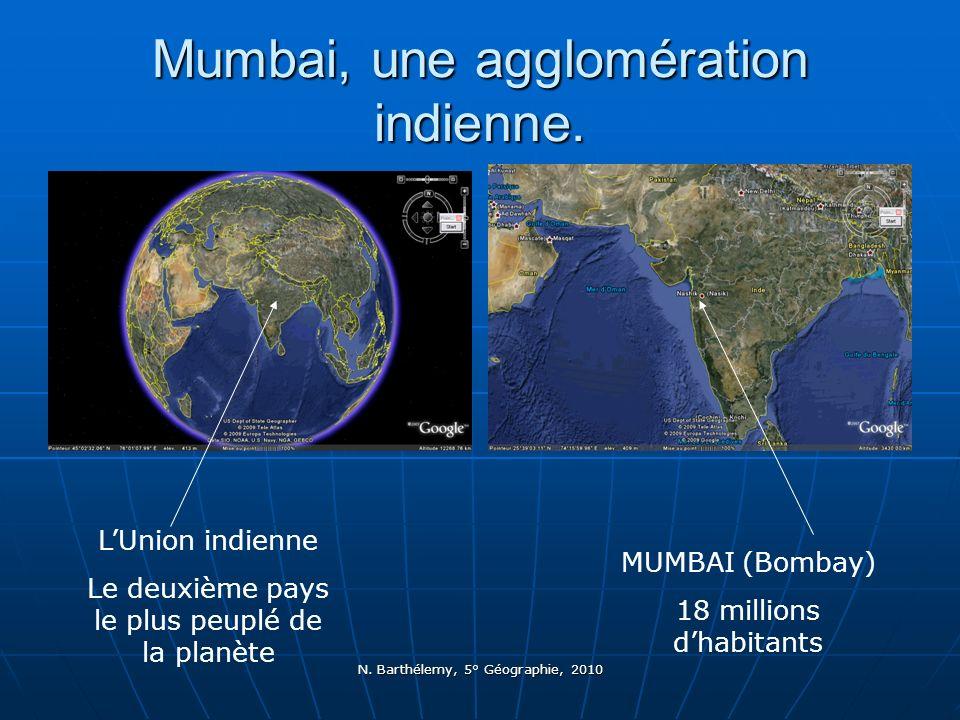 N. Barthélemy, 5° Géographie, 2010 Mumbai, une agglomération indienne. LUnion indienne Le deuxième pays le plus peuplé de la planète MUMBAI (Bombay) 1