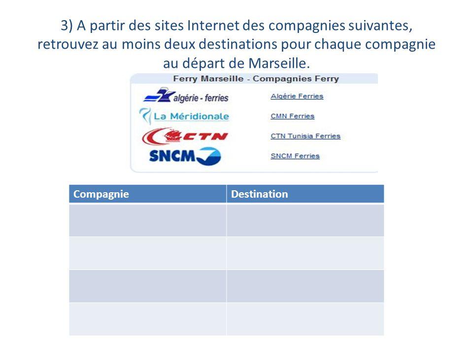 3) A partir des sites Internet des compagnies suivantes, retrouvez au moins deux destinations pour chaque compagnie au départ de Marseille.