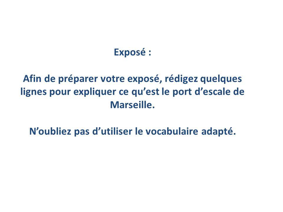 Exposé : Afin de préparer votre exposé, rédigez quelques lignes pour expliquer ce quest le port descale de Marseille.
