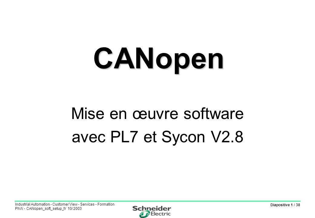 Diapositive 32 / 38 Industrial Automation - Customer View - Services - Formation PhW - CANopen_soft_setup_fr 10/ 2003 Vérification échanges dans écran mise au point Test des échanges de type PDO Test des échanges de type SDO CANopen : Mise en œuvre software - 32
