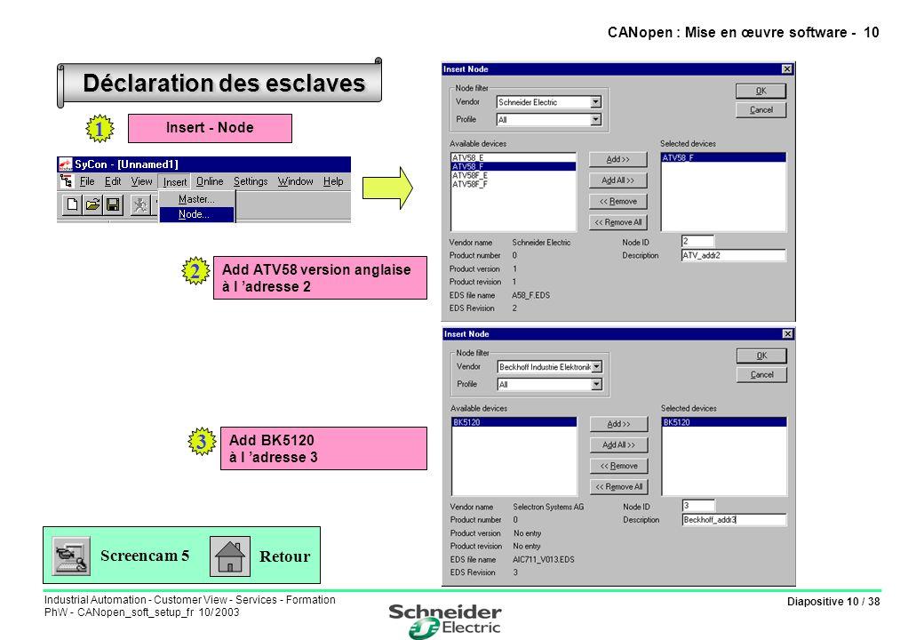 Diapositive 10 / 38 Industrial Automation - Customer View - Services - Formation PhW - CANopen_soft_setup_fr 10/ 2003 Déclaration des esclaves Retour