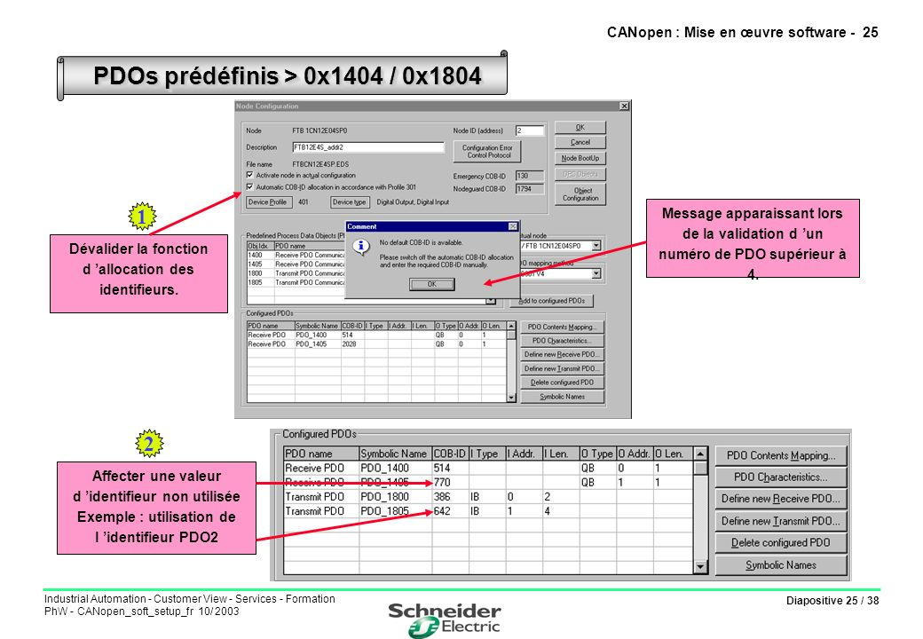 Diapositive 25 / 38 Industrial Automation - Customer View - Services - Formation PhW - CANopen_soft_setup_fr 10/ 2003 CANopen : Mise en œuvre software
