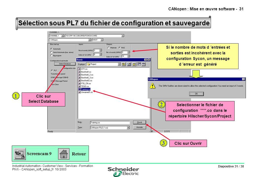 Diapositive 31 / 38 Industrial Automation - Customer View - Services - Formation PhW - CANopen_soft_setup_fr 10/ 2003 Sélection sous PL7 du fichier de