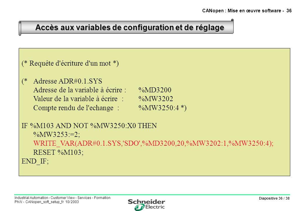 Diapositive 36 / 38 Industrial Automation - Customer View - Services - Formation PhW - CANopen_soft_setup_fr 10/ 2003 Accès aux variables de configura