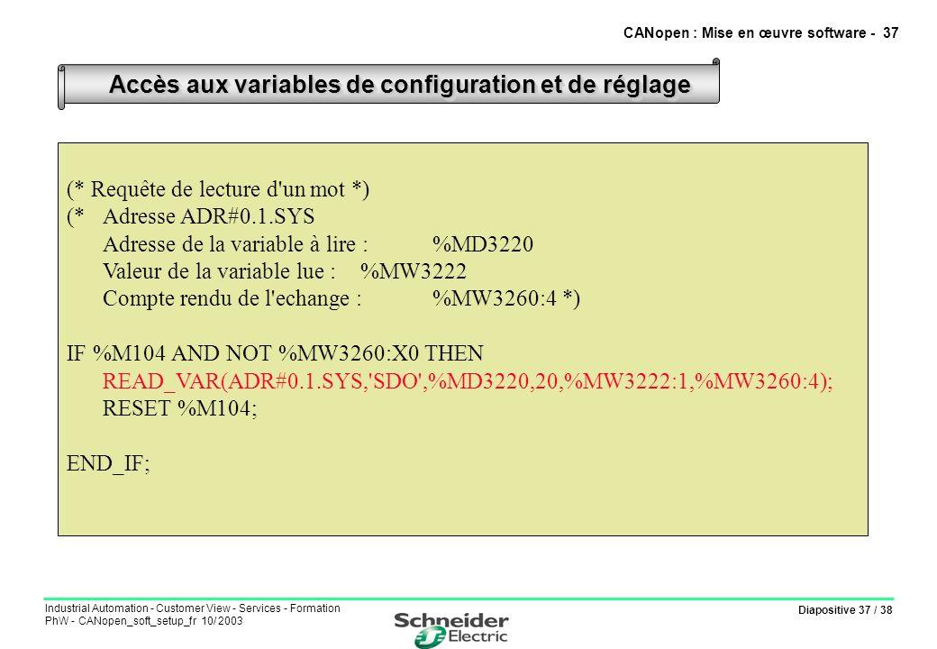 Diapositive 37 / 38 Industrial Automation - Customer View - Services - Formation PhW - CANopen_soft_setup_fr 10/ 2003 Accès aux variables de configura