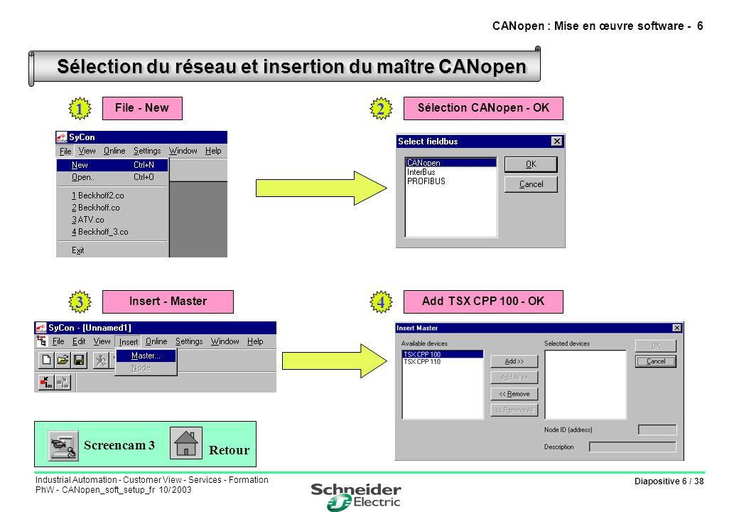 Diapositive 37 / 38 Industrial Automation - Customer View - Services - Formation PhW - CANopen_soft_setup_fr 10/ 2003 Accès aux variables de configuration et de réglage (* Requête de lecture d un mot *) (*Adresse ADR#0.1.SYS Adresse de la variable à lire : %MD3220 Valeur de la variable lue : %MW3222 Compte rendu de l echange : %MW3260:4 *) IF %M104 AND NOT %MW3260:X0 THEN READ_VAR(ADR#0.1.SYS, SDO ,%MD3220,20,%MW3222:1,%MW3260:4); RESET %M104; END_IF; CANopen : Mise en œuvre software - 37