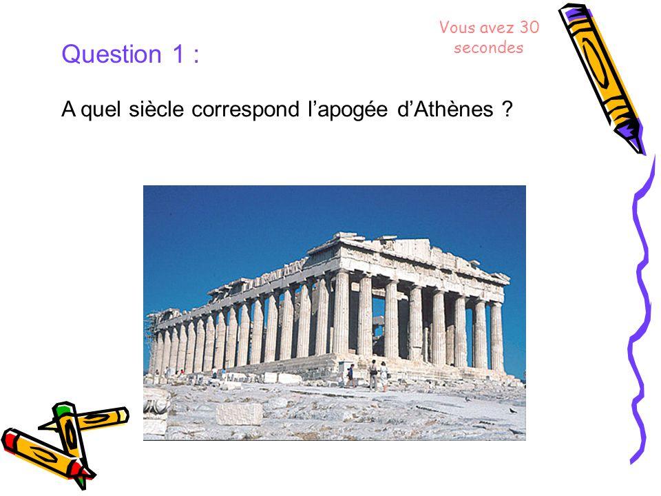 Question 1 : A quel siècle correspond lapogée dAthènes ? Vous avez 30 secondes