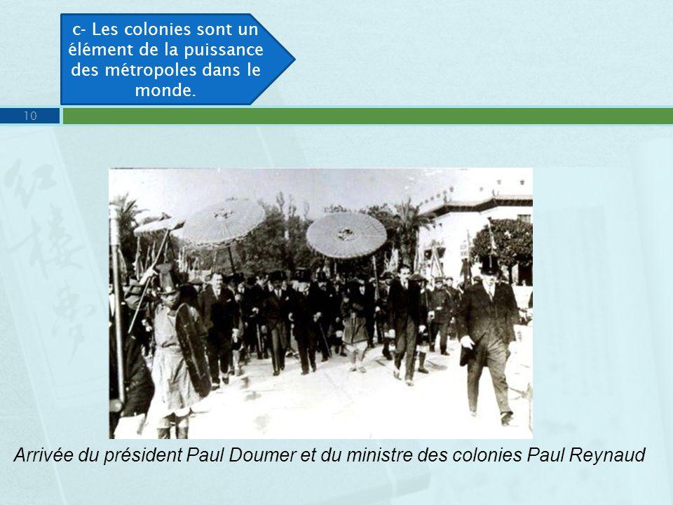 Arrivée du président Paul Doumer et du ministre des colonies Paul Reynaud c- Les colonies sont un élément de la puissance des métropoles dans le monde