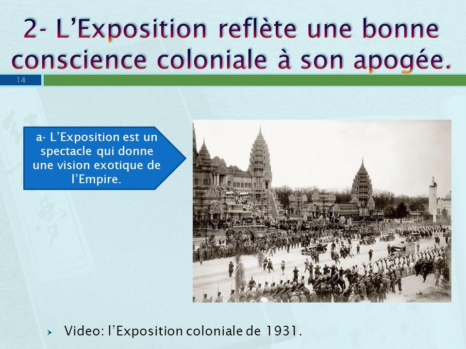 Video: lExposition coloniale de 1931. 14 a- LExposition est un spectacle qui donne une vision exotique de lEmpire.