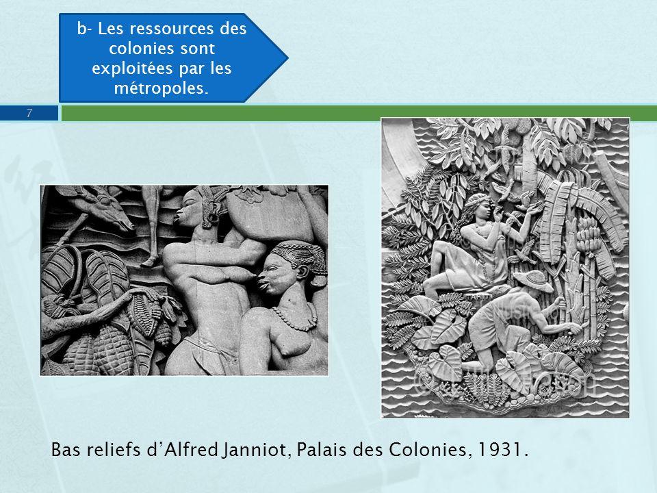 Bas reliefs dAlfred Janniot, Palais des Colonies, 1931. 7 b- Les ressources des colonies sont exploitées par les métropoles.