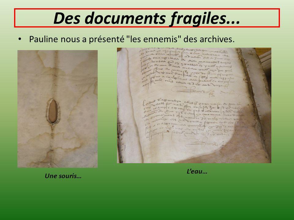 Des documents fragiles... Pauline nous a présenté