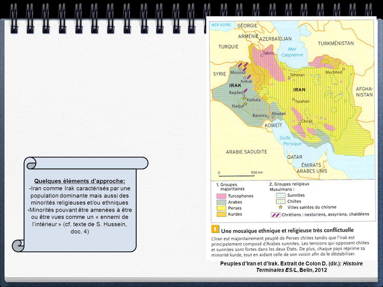 Peuples dIran et dIrak. Extrait de Colon D. (dir.): Histoire Terminales ES/L, Belin, 2012 Quelques éléments dapproche: -Iran comme Irak caractérisés p