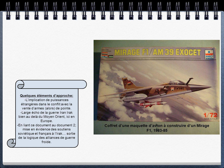 Doc. 6: Coffret dune maquette davion Dassault Mirage F1, équipé dun missile Exocet. Années 1980 Quelques éléments dapproche: -Limplication de puissanc