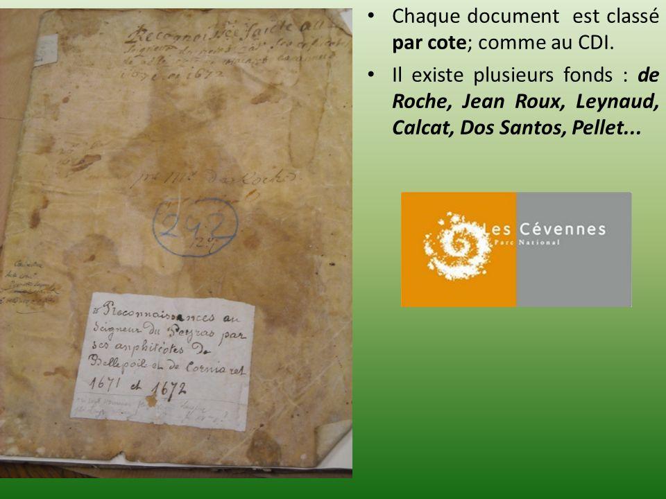 Chaque document est classé par cote; comme au CDI. Il existe plusieurs fonds : de Roche, Jean Roux, Leynaud, Calcat, Dos Santos, Pellet...