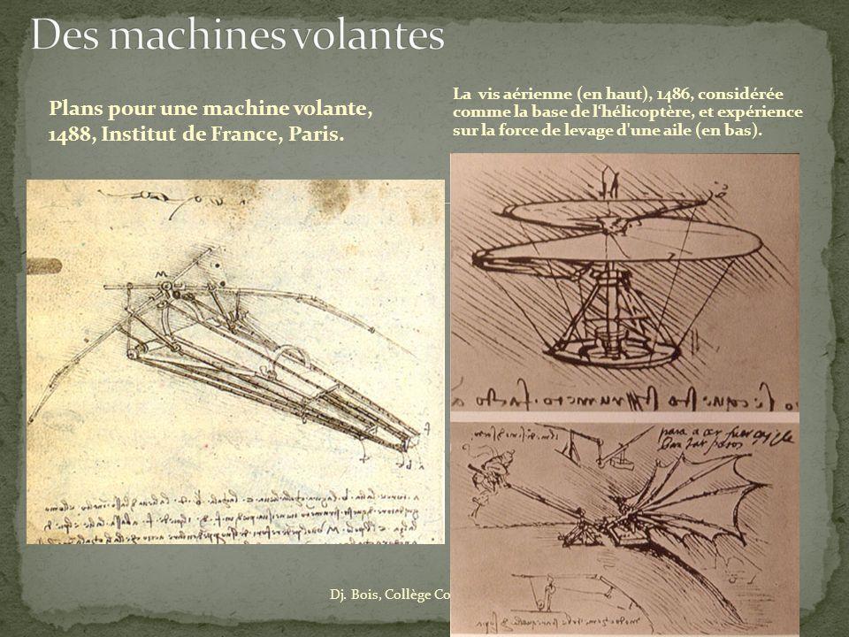 Dj. Bois, Collège Couiza (Aude) Plans pour une machine volante, 1488, Institut de France, Paris. La vis aérienne (en haut), 1486, considérée comme la