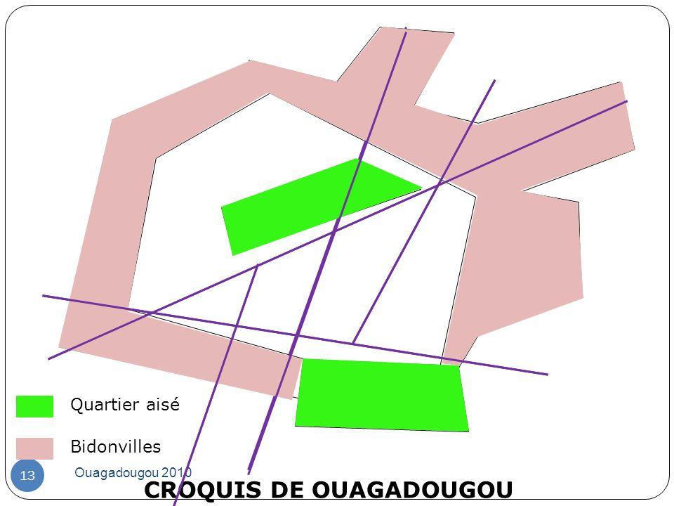 CROQUIS DE OUAGADOUGOU Ouagadougou 2010 13 Quartier aisé Bidonvilles