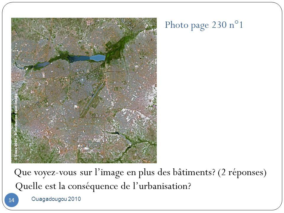 Photo page 230 n°1 Ouagadougou 2010 14 Que voyez-vous sur limage en plus des bâtiments? (2 réponses) Quelle est la conséquence de lurbanisation?