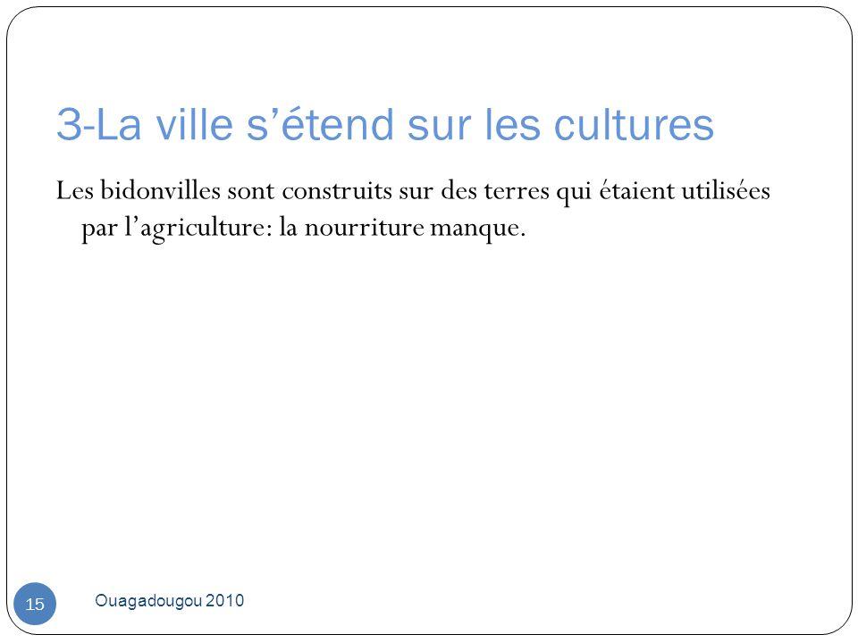 3-La ville sétend sur les cultures Ouagadougou 2010 15 Les bidonvilles sont construits sur des terres qui étaient utilisées par lagriculture: la nourr