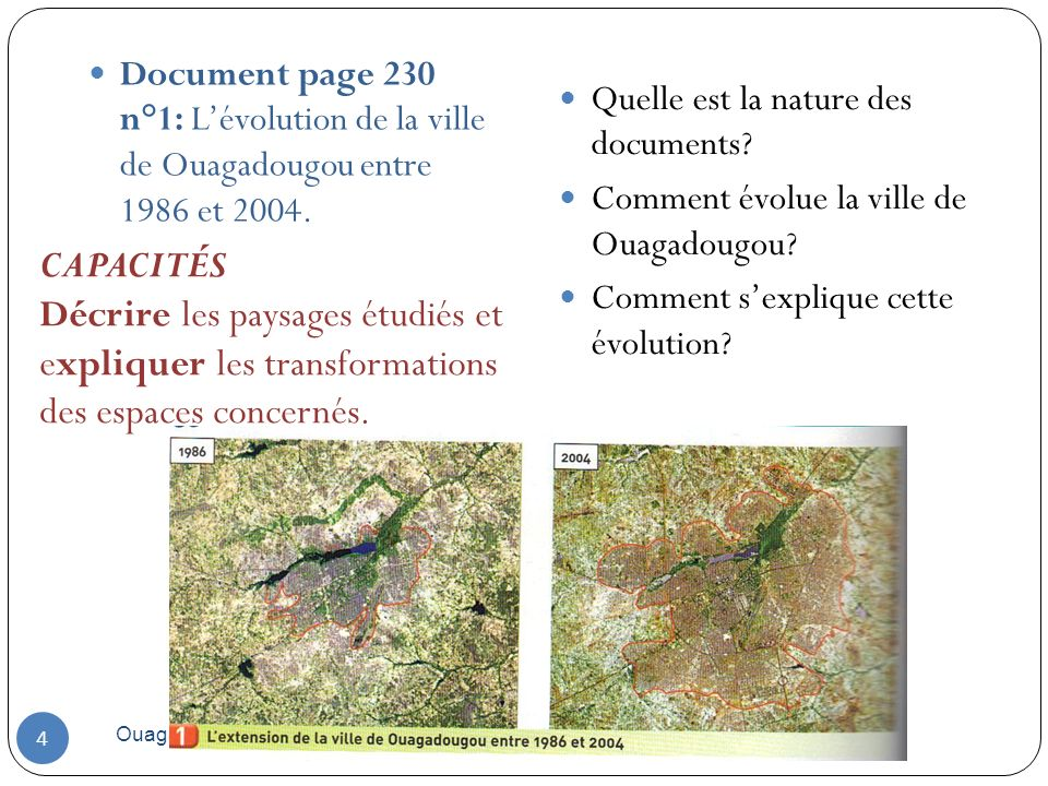 Ouagadougou 2010 4 Document page 230 n°1: Lévolution de la ville de Ouagadougou entre 1986 et 2004. Quelle est la nature des documents? Comment évolue
