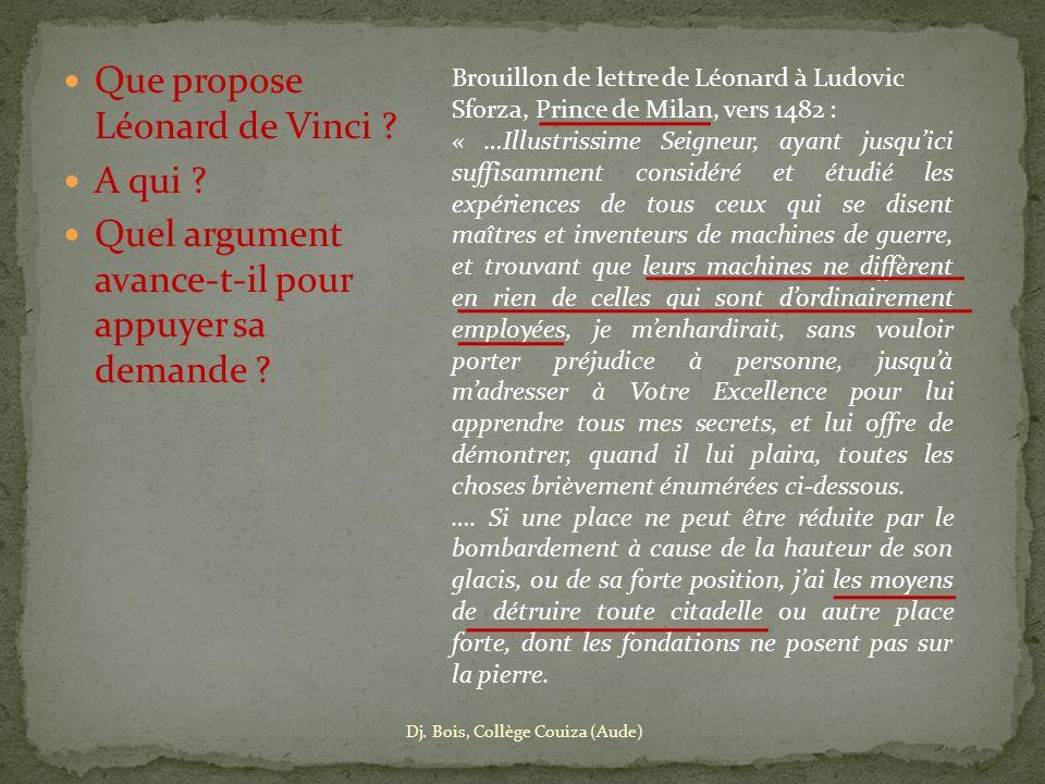 Brouillon de lettre de Léonard à Ludovic Sforza, Prince de Milan, vers 1482 : « …Illustrissime Seigneur, ayant jusquici suffisamment considéré et étud