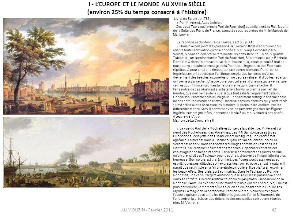 I - LEUROPE ET LE MONDE AU XVIIIe SIÈCLE (environ 25% du temps consacré à lhistoire) J.LIMOUZIN - Février 201143 Livret du Salon de 1763 : « Par M. Ve