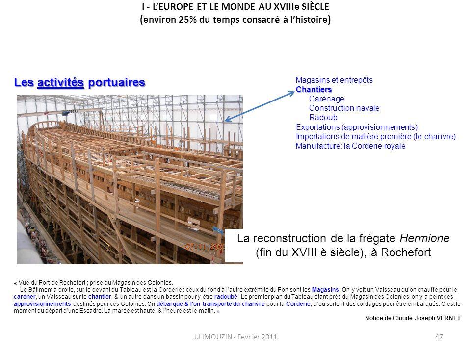 I - LEUROPE ET LE MONDE AU XVIIIe SIÈCLE (environ 25% du temps consacré à lhistoire) J.LIMOUZIN - Février 201147 « Vue du Port de Rochefort ; prise du