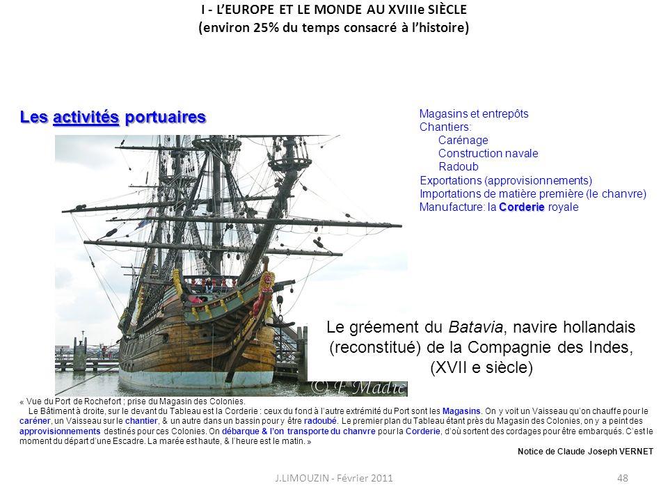 I - LEUROPE ET LE MONDE AU XVIIIe SIÈCLE (environ 25% du temps consacré à lhistoire) J.LIMOUZIN - Février 201148 « Vue du Port de Rochefort ; prise du