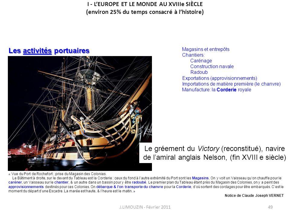 I - LEUROPE ET LE MONDE AU XVIIIe SIÈCLE (environ 25% du temps consacré à lhistoire) J.LIMOUZIN - Février 201149 « Vue du Port de Rochefort ; prise du