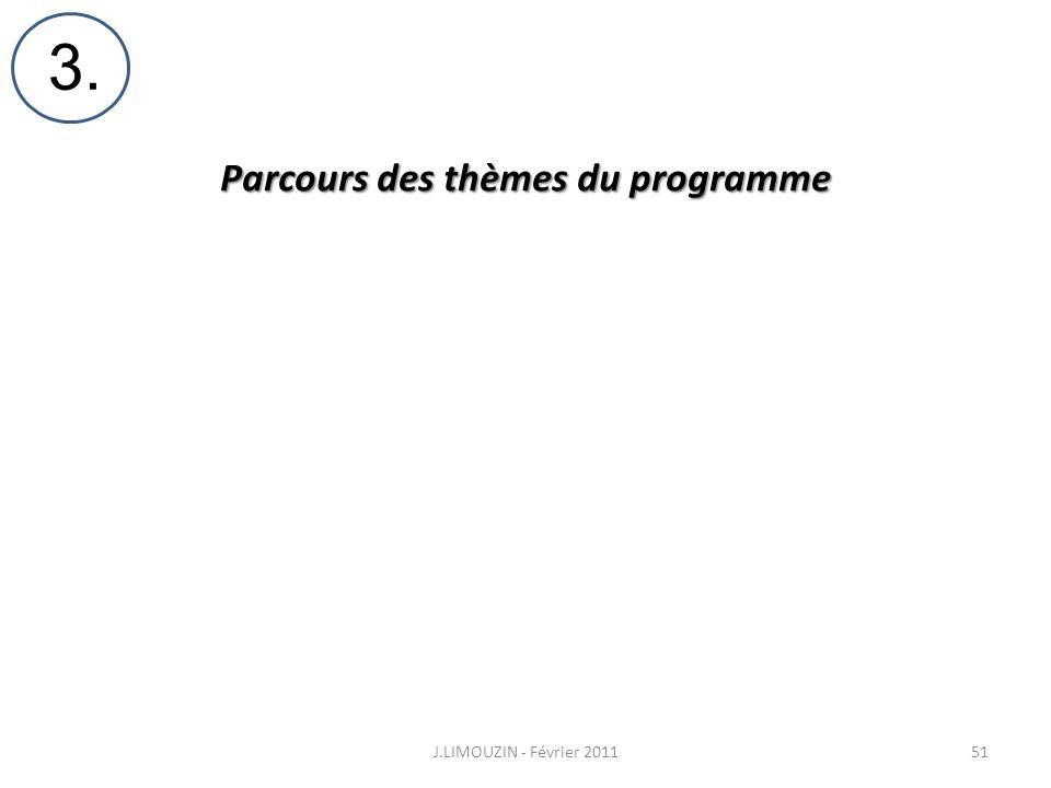 Parcours des thèmes du programme J.LIMOUZIN - Février 201151 3.