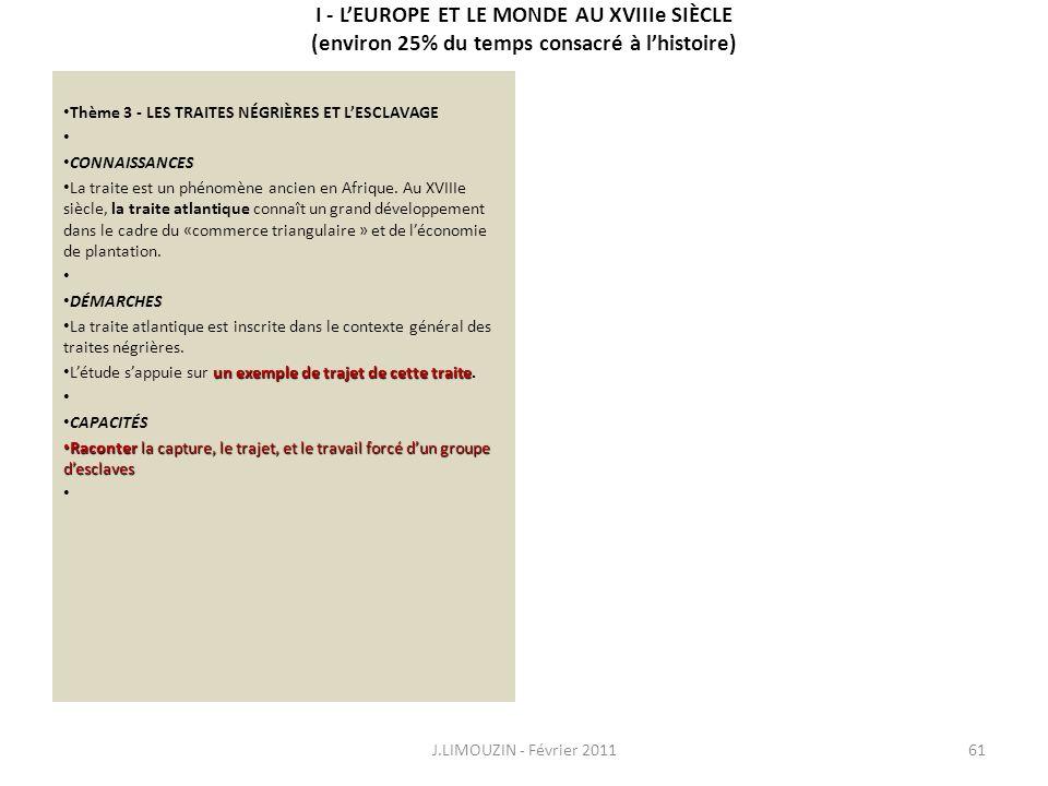 I - LEUROPE ET LE MONDE AU XVIIIe SIÈCLE (environ 25% du temps consacré à lhistoire) Thème 3 - LES TRAITES NÉGRIÈRES ET LESCLAVAGE CONNAISSANCES La tr