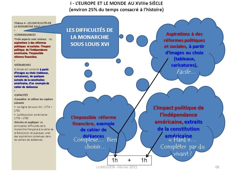 I - LEUROPE ET LE MONDE AU XVIIIe SIÈCLE (environ 25% du temps consacré à lhistoire) Thème 4 - LES DIFFICULTÉS DE LA MONARCHIE SOUS LOUIS XVI CONNAISS