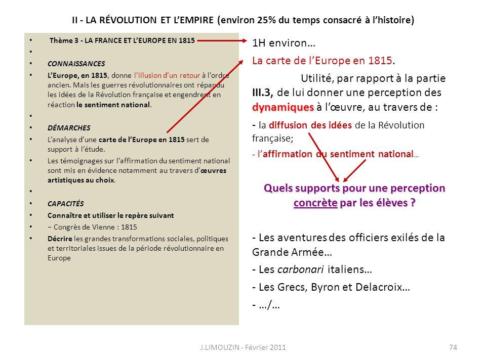 II - LA RÉVOLUTION ET LEMPIRE (environ 25% du temps consacré à lhistoire) Thème 3 - LA FRANCE ET LEUROPE EN 1815 CONNAISSANCES LEurope, en 1815, donne