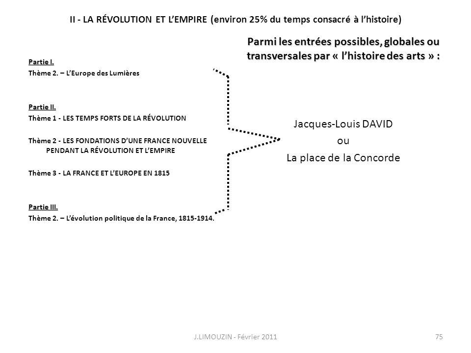 II - LA RÉVOLUTION ET LEMPIRE (environ 25% du temps consacré à lhistoire) Partie I. Thème 2. – LEurope des Lumières Partie II. Thème 1 - LES TEMPS FOR