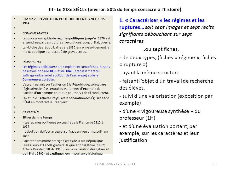 III - Le XIXe SIÈCLE (environ 50% du temps consacré à lhistoire) Thème 2 - LÉVOLUTION POLITIQUE DE LA FRANCE, 1815- 1914 CONNAISSANCES La succession r
