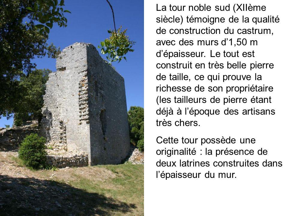 La tour noble sud (XIIème siècle) témoigne de la qualité de construction du castrum, avec des murs d1,50 m dépaisseur. Le tout est construit en très b