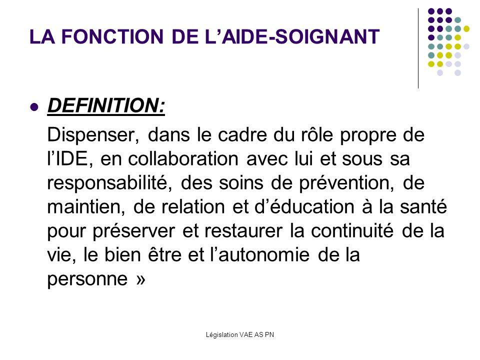Législation VAE AS PN LA FONCTION DE LAIDE-SOIGNANT DEFINITION: Dispenser, dans le cadre du rôle propre de lIDE, en collaboration avec lui et sous sa
