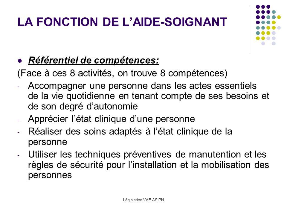 Législation VAE AS PN LA FONCTION DE LAIDE-SOIGNANT Référentiel de compétences: (Face à ces 8 activités, on trouve 8 compétences) - Accompagner une pe