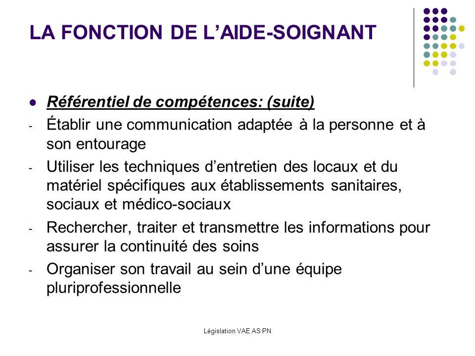 Législation VAE AS PN LA FONCTION DE LAIDE-SOIGNANT Référentiel de compétences: (suite) - Établir une communication adaptée à la personne et à son ent