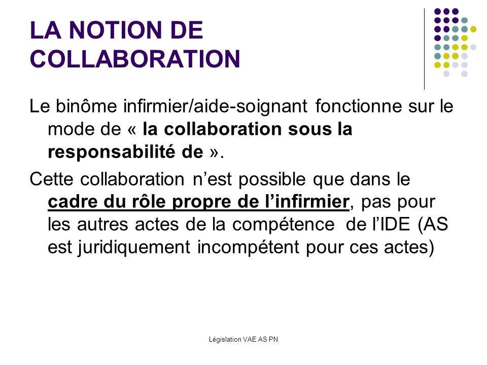Législation VAE AS PN LA NOTION DE COLLABORATION Le binôme infirmier/aide-soignant fonctionne sur le mode de « la collaboration sous la responsabilité