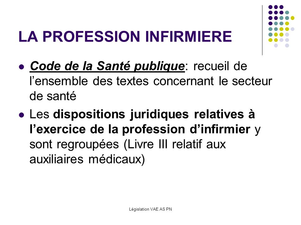 Législation VAE AS PN CODE DE LA SANTE PUBLIQUE LIVRE III (Auxiliaires médicaux) Actes professionnels (Articles R4311-1 à R4311-15) Article R4311-5 : Soins et procédés visant à assurer lhygiène de la personne et de son environnement Surveillance de lhygiène et de léquilibre alimentaire ACTIVITES AS