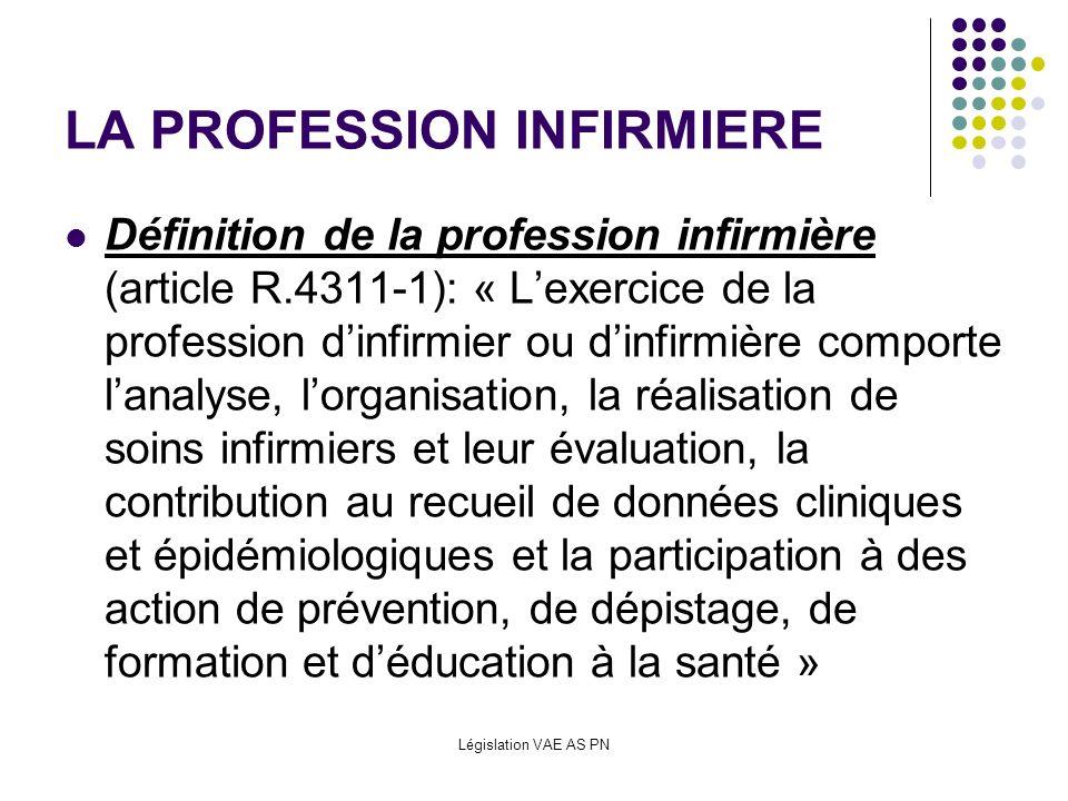 Législation VAE AS PN LA PROFESSION INFIRMIERE Définition de la profession infirmière (article R.4311-1): « Lexercice de la profession dinfirmier ou d