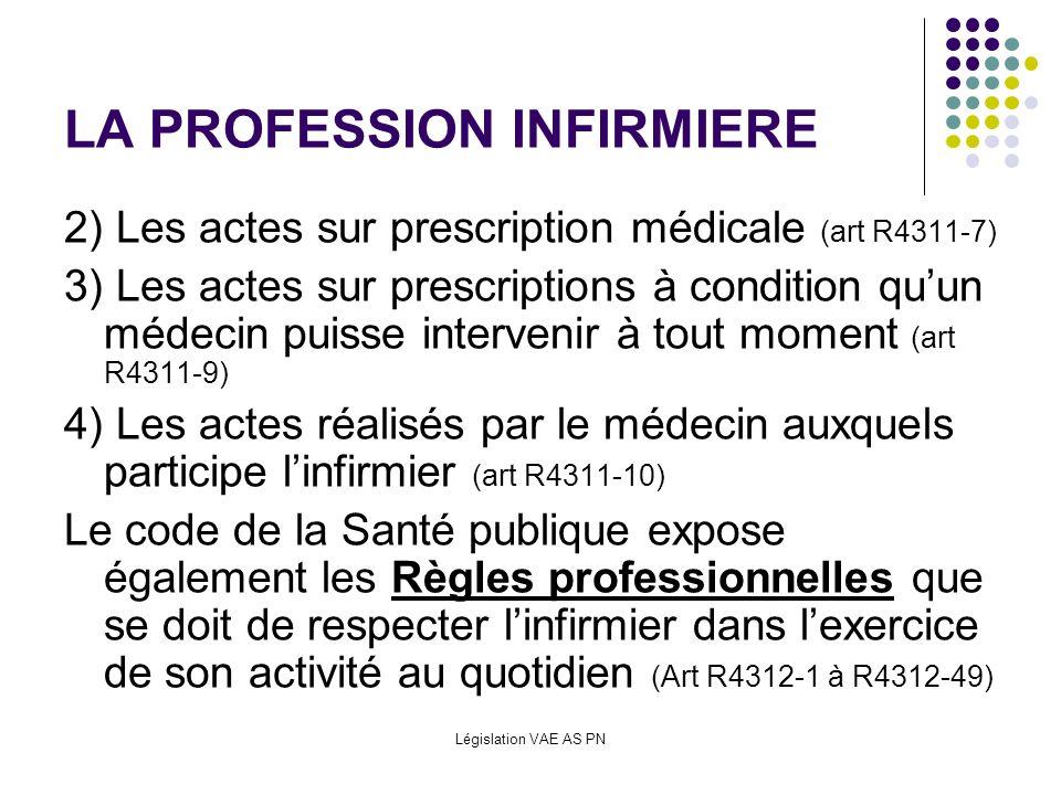 Législation VAE AS PN LA PROFESSION INFIRMIERE 2) Les actes sur prescription médicale (art R4311-7) 3) Les actes sur prescriptions à condition quun mé