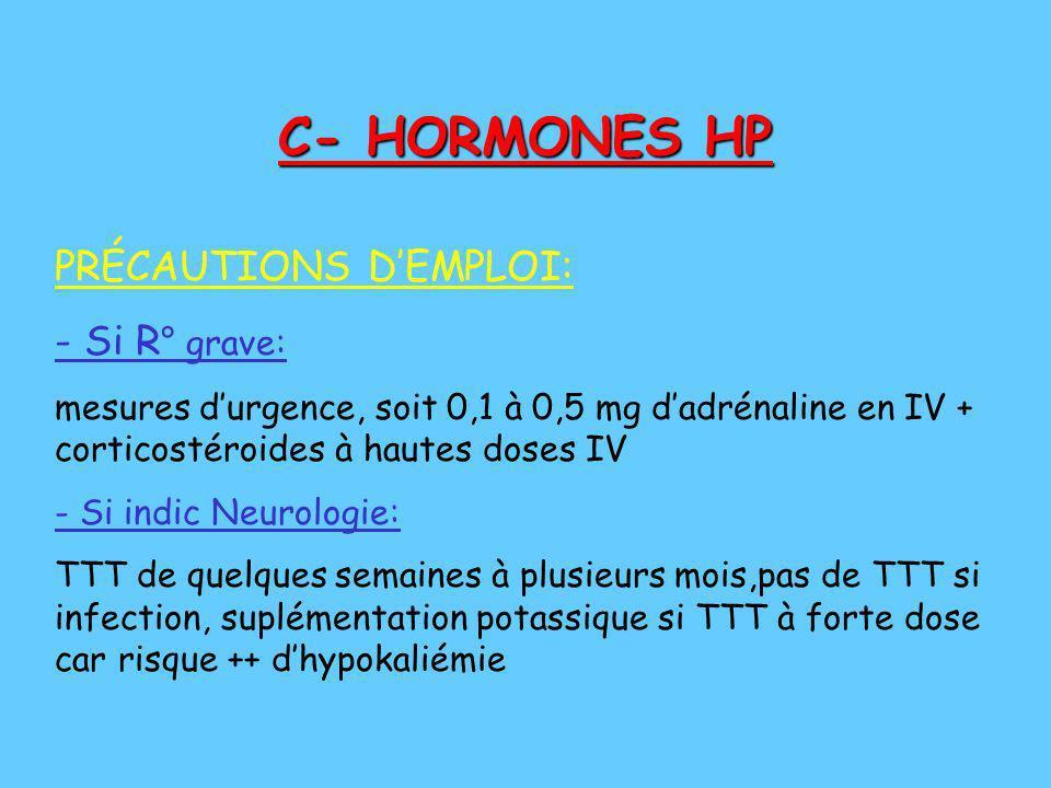 C- HORMONES HP PRÉCAUTIONS DEMPLOI: - Si R ° grave: mesures durgence, soit 0,1 à 0,5 mg dadrénaline en IV + corticostéroides à hautes doses IV - Si in