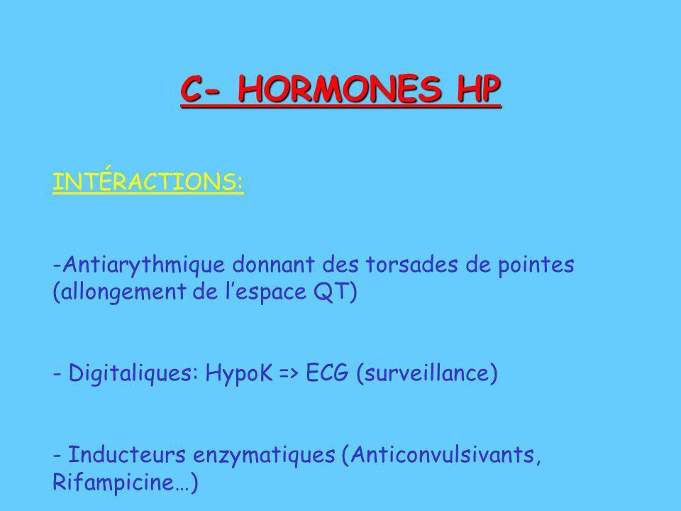 C- HORMONES HP INTÉRACTIONS: -Antiarythmique donnant des torsades de pointes (allongement de lespace QT) - Digitaliques: HypoK => ECG (surveillance) -